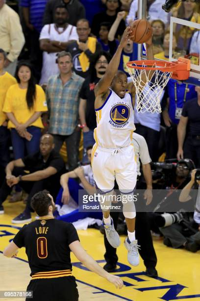 Andre Iguodala of the Golden State Warriors dunks the ball against the Cleveland Cavaliers during the first half in Game 5 of the 2017 NBA Finals at...