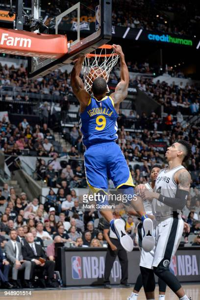 Andre Iguodala of the Golden State Warriors dunks the ball against the San Antonio Spurs during Game Three of the Western Conference Quarterfinals in...