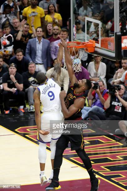 Andre Iguodala of the Golden State Warriors dunks the ball against the Cleveland Cavaliers in Game Three of the 2018 NBA Finals on June 6 2018 at...