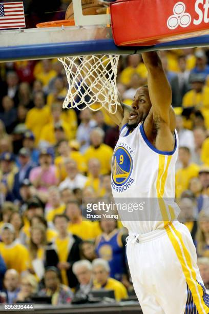 Andre Iguodala of the Golden State Warriors goes to the basket against the Cleveland Cavaliers in Game Five of the 2017 NBA Finals on June 12 2017 at...
