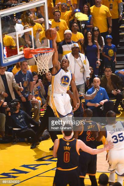 Andre Iguodala of the Golden State Warriors goes up for a dunk against the Cleveland Cavaliers in Game One of the 2017 NBA Finals on June 1 2017 at...