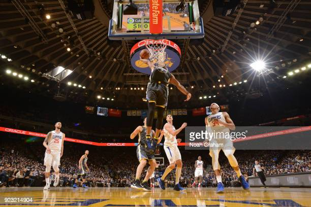 Andre Iguodala of the Golden State Warriors goes up for a dunk against the LA Clippers on February 22 2018 at ORACLE Arena in Oakland California NOTE...