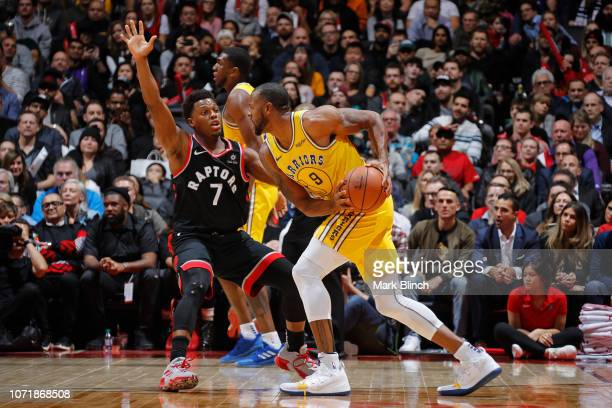 Andre Iguodala of the Golden State Warriors handles the ball against the Toronto Raptors on November 29 2018 at the Scotiabank Arena in Toronto...