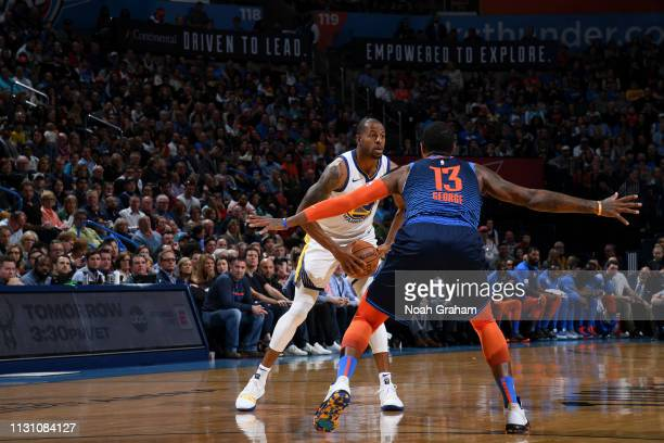 Andre Iguodala of the Golden State Warriors handles the ball against the Oklahoma City Thunder on March 16 2019 at Chesapeake Energy Arena in...