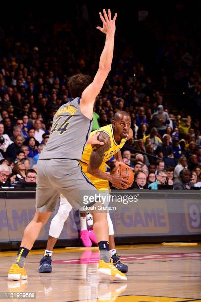 Andre Iguodala of the Golden State Warriors handles the ball against the Indiana Pacers on March 21 2019 at ORACLE Arena in Oakland California NOTE...