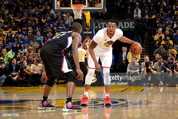 Andre Iguodala of the Golden State Warriors handles the ball against the LA Clippers during the game on January 28 2017 at ORACLE Arena in Oakland...