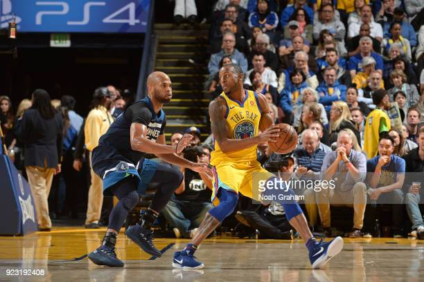 Andre Iguodala of the Golden State Warriors handles the ball against Taj Gibson of the Minnesota Timberwolves on January 25 2018 at ORACLE Arena in...