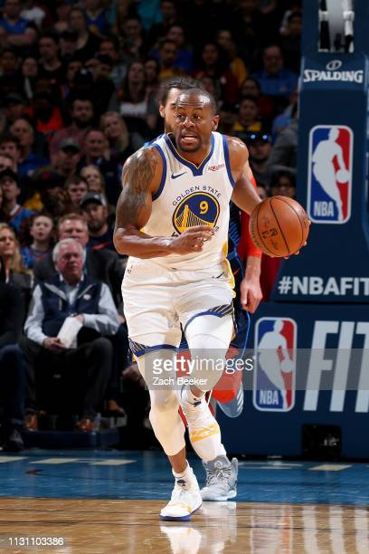 Andre Iguodala of the Golden State Warriors handles the ball during the game against the Oklahoma City Thunder on March 16 2019 at Chesapeake Energy...