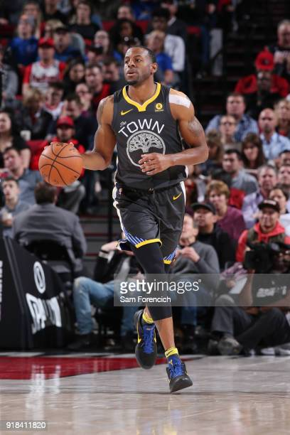 Andre Iguodala of the Golden State Warriors handles the ball during the game against the Portland Trail Blazers on February 14 2018 at the Moda...