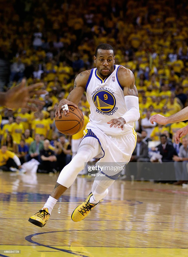 Andre Iguodala #9 of the Golden State Warriors in action against the Los Angeles Clippers in Game Six of the Western Conference Quarterfinals during the 2014 NBA Playoffs at ORACLE Arena on May 1, 2014 in Oakland, California.