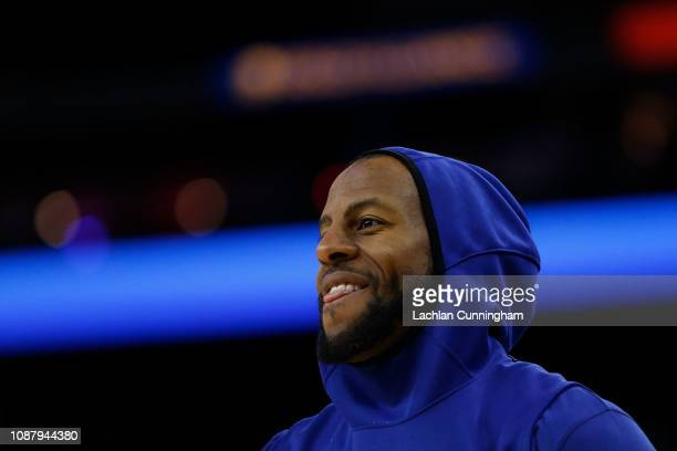 Andre Iguodala of the Golden State Warriors looks on during the warm up before the game against the Portland Trail Blazers at ORACLE Arena on...