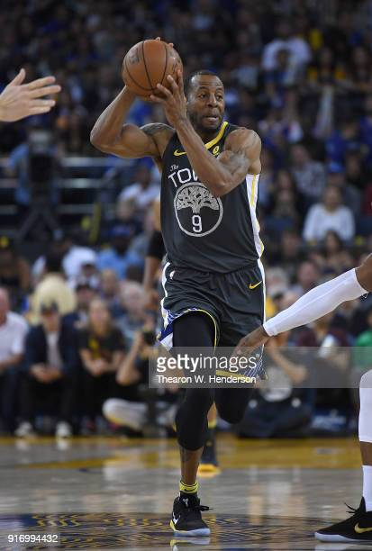 Andre Iguodala of the Golden State Warriors looks to pass the ball on a fast break against the Dallas Mavericks during an NBA basketball game at...