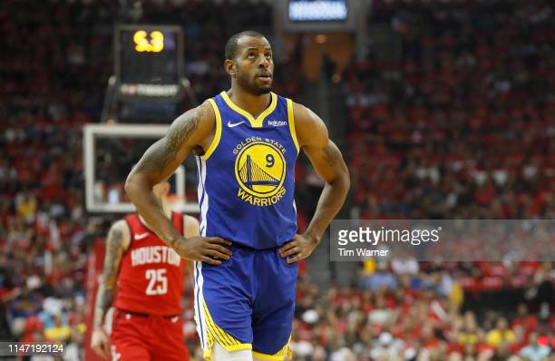 Andre Iguodala of the Golden State Warriors reacts after a foul in the first quarter during Game Three of the Second Round of the 2019 NBA Western...