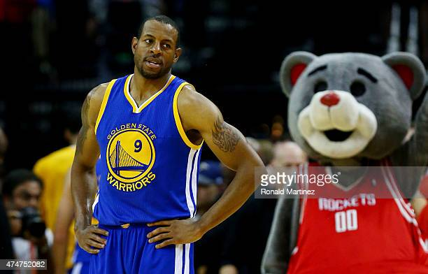 Andre Iguodala of the Golden State Warriors reacts after their 128 to 115 loss to the Houston Rockets in Game Four of the Western Conference Finals...