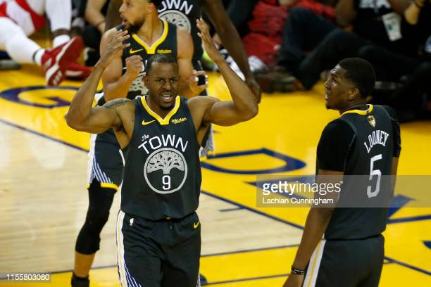 Andre Iguodala of the Golden State Warriors reacts against the Toronto Raptors in the second half during Game Six of the 2019 NBA Finals at ORACLE...