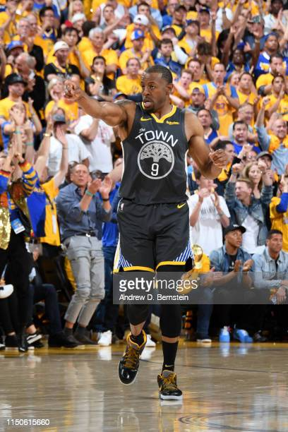 Andre Iguodala of the Golden State Warriors reacts against the Toronto Raptors during Game Six of the NBA Finals on June 13 2019 at ORACLE Arena in...