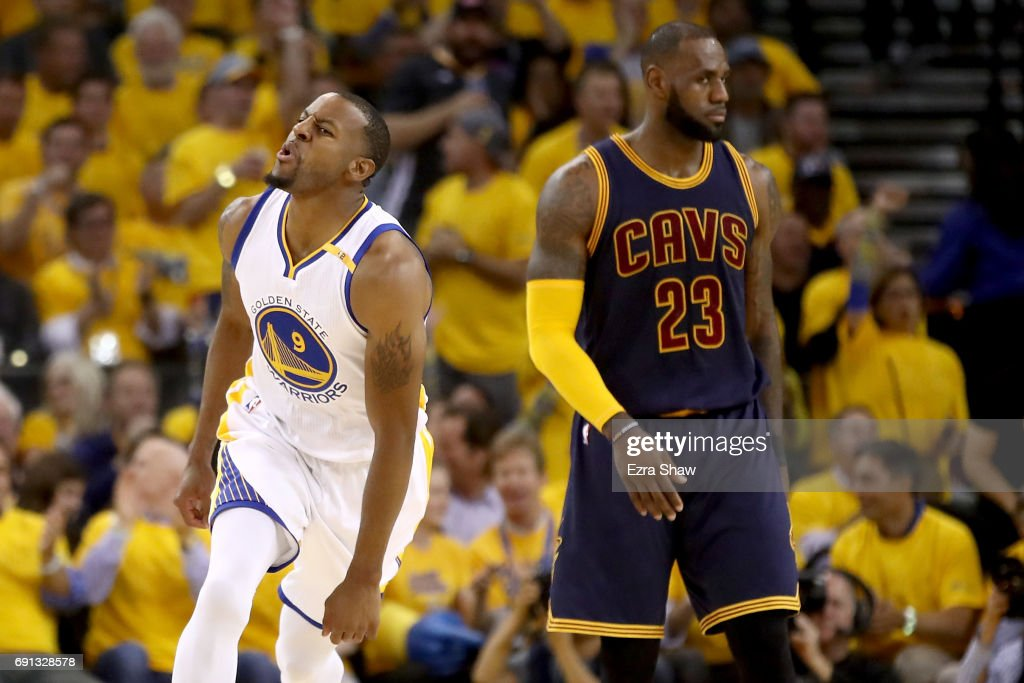 Andre Iguodala #9 of the Golden State Warriors reacts to a play against the Cleveland Cavaliers in Game 1 of the 2017 NBA Finals at ORACLE Arena on June 1, 2017 in Oakland, California.