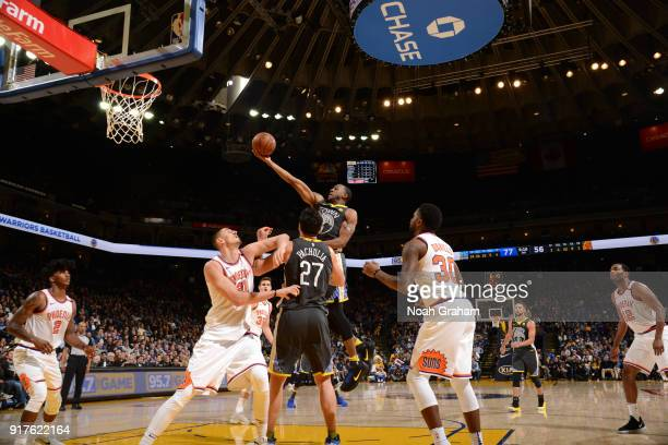 Andre Iguodala of the Golden State Warriors shoots a lay up against the Phoenix Suns on February 12 2018 at ORACLE Arena in Oakland California NOTE...