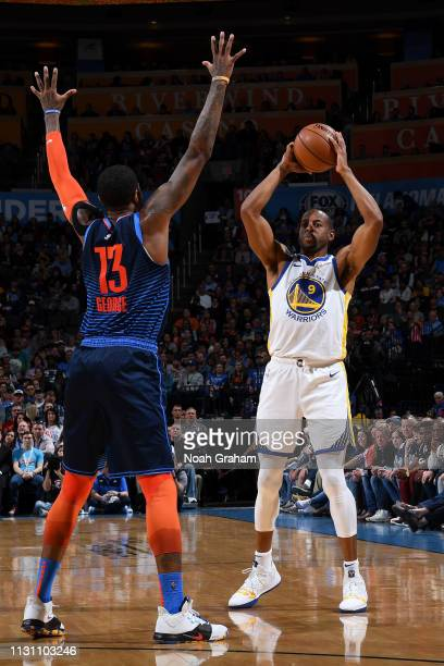 Andre Iguodala of the Golden State Warriors shoots the ball against the Oklahoma City Thunder on March 16 2019 at Chesapeake Energy Arena in Oklahoma...