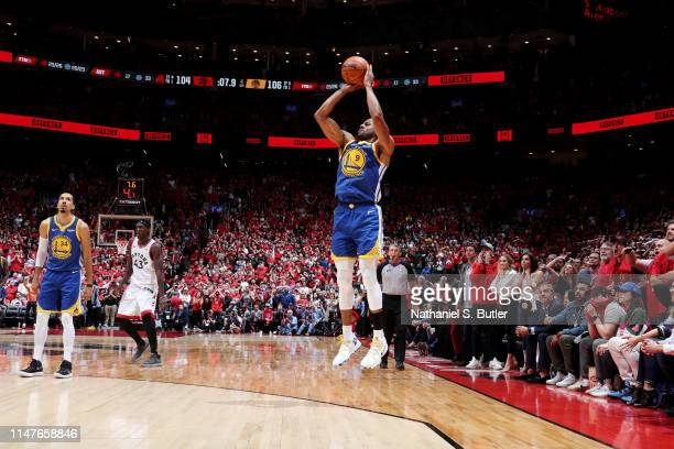 Andre Iguodala of the Golden State Warriors shoots the ball against the Toronto Raptors during Game Two of the NBA Finals on June 2 2019 at...