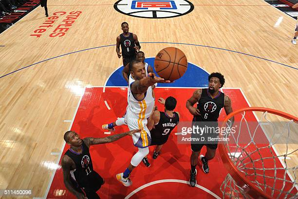 Andre Iguodala of the Golden State Warriors shoots the ball against the Los Angeles Clippers on February 20 2016 at STAPLES Center in Los Angeles...