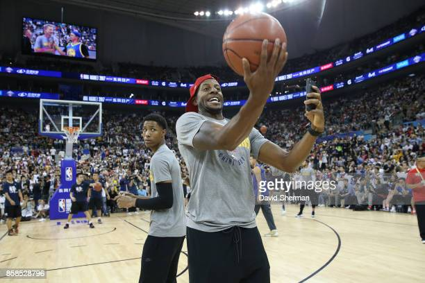 Andre Iguodala of the Golden State Warriors shoots the ball during fan day as part of 2017 NBA Global Games China on October 7 2017 at the Oriental...