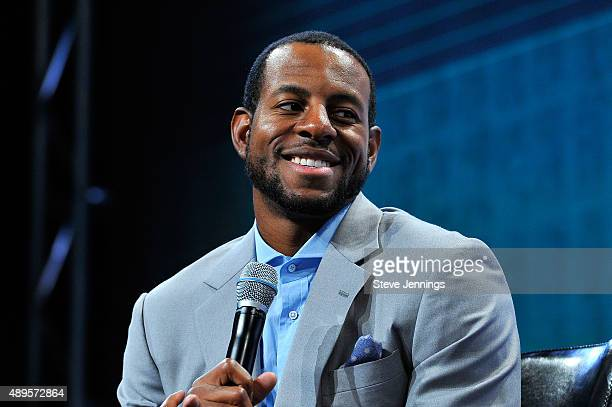 Andre Iguodala of the Golden State Warriors speaks onstage during day two of TechCrunch Disrupt SF 2015 at Pier 70 on September 22 2015 in San...