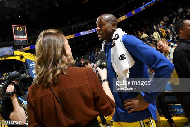 Andre Iguodala of the Golden State Warriors speaks with the media after the game against the Indiana Pacers on March 21 2019 at ORACLE Arena in...