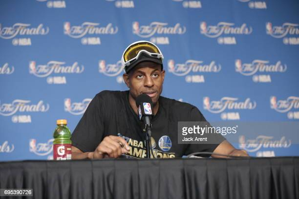 Andre Iguodala of the Golden State Warriors talks to the media after winning the NBA Championship against the Golden State Warriors in Game Five of...