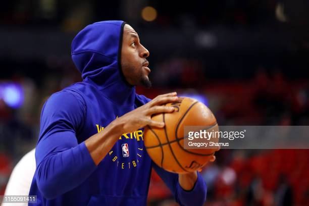 Andre Iguodala of the Golden State Warriors warms up before Game Five of the 2019 NBA Finals against the Toronto Raptors at Scotiabank Arena on June...