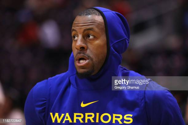 Andre Iguodala of the Golden State Warriors warms up before Game One of the 2019 NBA Finals against the Toronto Raptors at Scotiabank Arena on May 30...