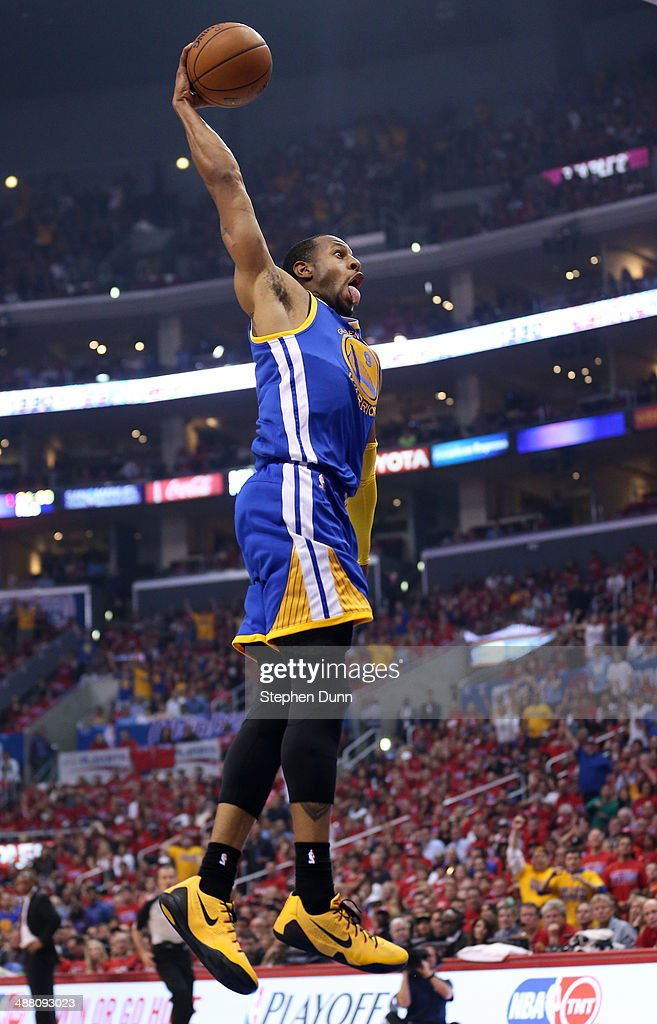 Andre Iguodala #9 of the Golden State Warriorsdunks against the Los Angeles Clippers in Game Seven of the Western Conference Quarterfinals during the 2014 NBA Playoffs at Staples Center on May 3, 2014 in Los Angeles, California.