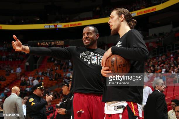 Andre Iguodala of the Miami Heat and Kelly Olynyk of the Miami Heat warm up before the game against the Minnesota Timberwolves on February 26, 2020...