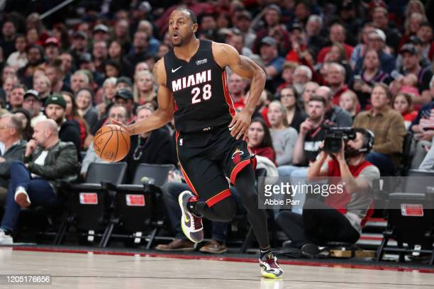 Andre Iguodala of the Miami Heat dribbles with the ball in the fourth quarter against the Portland Trail Blazers during their game at Moda Center on...