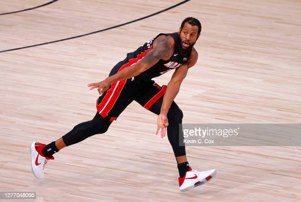 Andre Iguodala of the Miami Heat reacts to a three point basket during the third quarter against the Boston Celtics in Game Six of the Eastern...