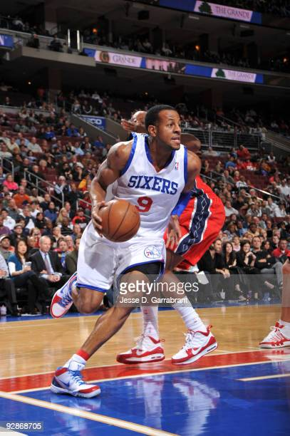 Andre Iguodala of the Philadelphia 76ers drives against the New Jersey Nets during the game on November 6 2009 at the Wachovia Center in Philadelphia...