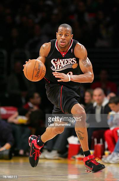Andre Iguodala of the Philadelphia 76ers drives upcourt during the game against the Los Angeles Lakers at Staples Center on January 4 2008 in Los...