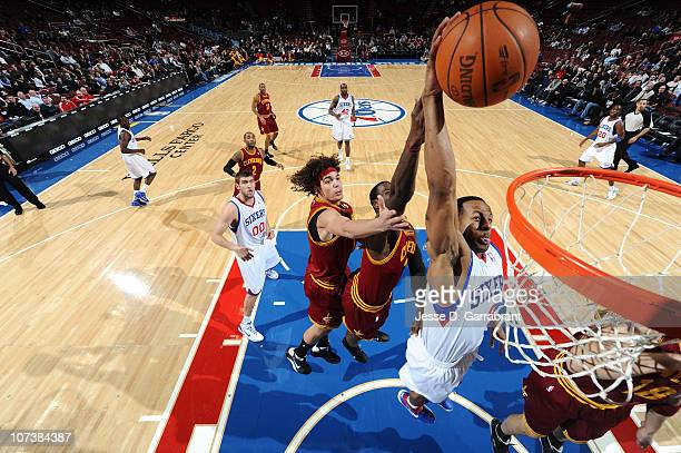 Andre Iguodala of the Philadelphia 76ers dunks against the Cleveland Cavaliers during the game on December 7 2010 at the Wells Fargo Center in...