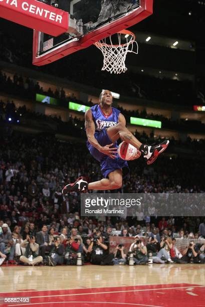 Andre Iguodala of the Philadelphia 76ers moves the ball between his legs in the Sprite Rising Stars Slam Dunk competition during NBA AllStar Weekend...