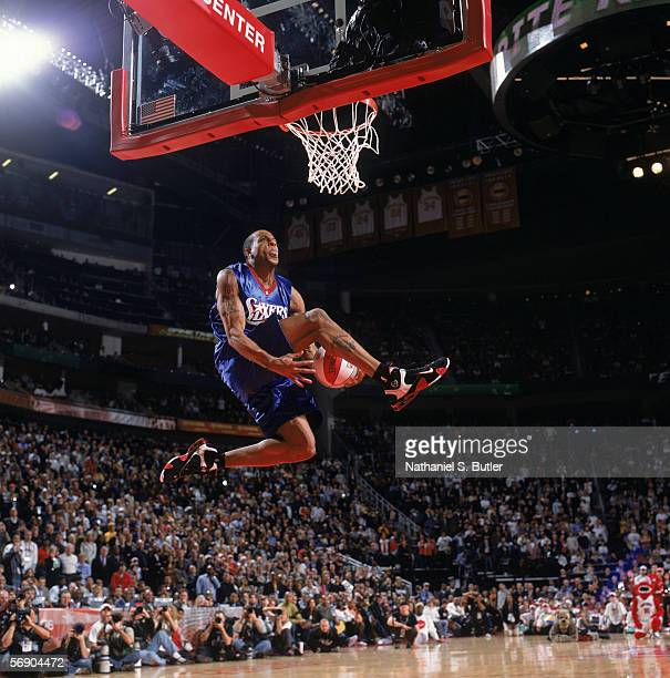 Andre Iguodala of the Philadelphia 76ers performs a dunk during the Sprite Rising Stars Slam Dunk Contest on AllStar Saturday Night during the 2006...