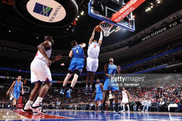Andre Iguodala of the Philadelphia 76ers shoots against Nick Collison of the Oklahoma City Thunder during the game on March 30 2010 at the Wachovia...