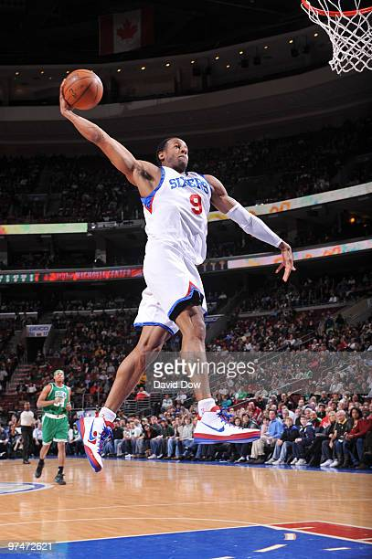 Andre Iguodala of the Philadelphia 76ers shoots against the Boston Celtics during the game on March 5 2010 at the Wachovia Center in Philadelphia...