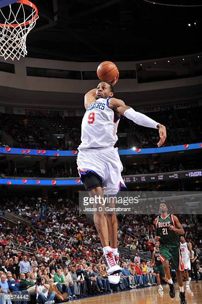 Andre Iguodala of the Philadelphia 76ers shoots the ball against the Milwaukee Bucks during the game on October 30 2009 at the Wachovia Center in...