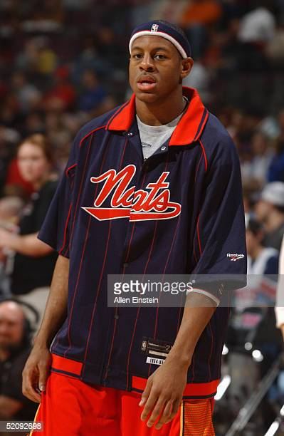 Andre Iguodala of the Philadelphia 76ers warms up before the game with the Detroit Pistons at The Palace of Auburn Hills on January 15 2004 in Auburn...