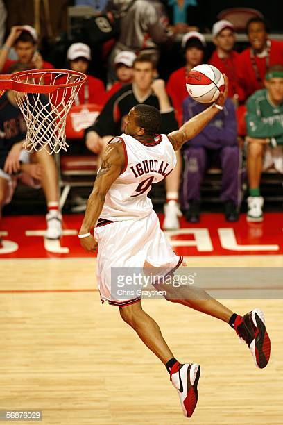 Andre Iguodala of the Sophomore Team drives to the basket for a dunk against the Rookie Team during the TMobile Rookie Challenge on February 17 2006...