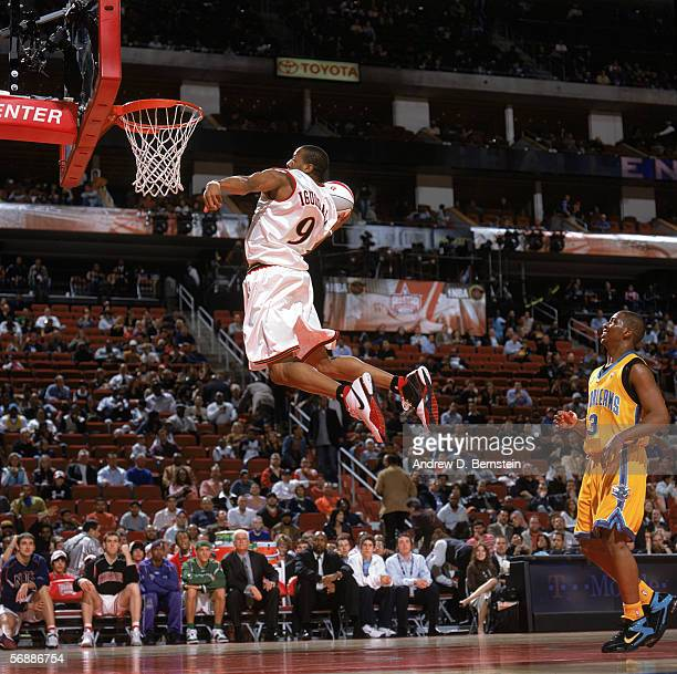 Andre Iguodala of the Sophomore Team goes for a dunk against the Rookie Team during the TMobile Rookie Challenge game at the 2006 NBA AllStar Weekend...