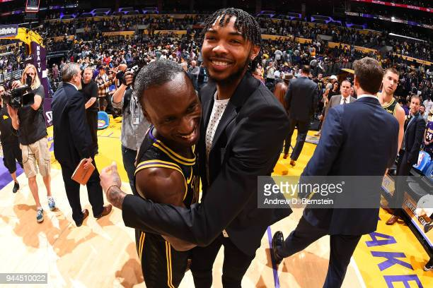 Andre Ingram and Brandon Ingram of the Los Angeles Lakers hug after the game against the Houston Rockets on April 10 2017 at STAPLES Center in Los...