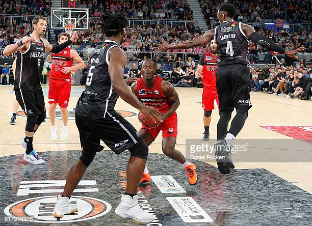 Andre Ingram drives to the basket during the round three NBL match between Melbourne United and the Perth Wildcats at Hisense Arena on October 23...