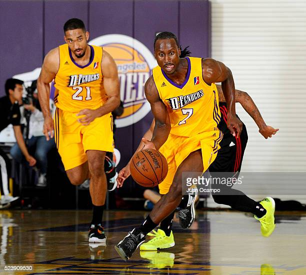 Andre Ingram of the Los Angeles DFenders brings the ball up the court during the game against the Sioux Falls Skyforce during Game One of the 2016...