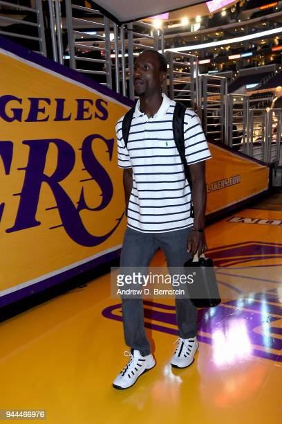 Andre Ingram of the Los Angeles Lakers arrives at the arena before the game against the Houston Rockets on April 10 2017 at STAPLES Center in Los...
